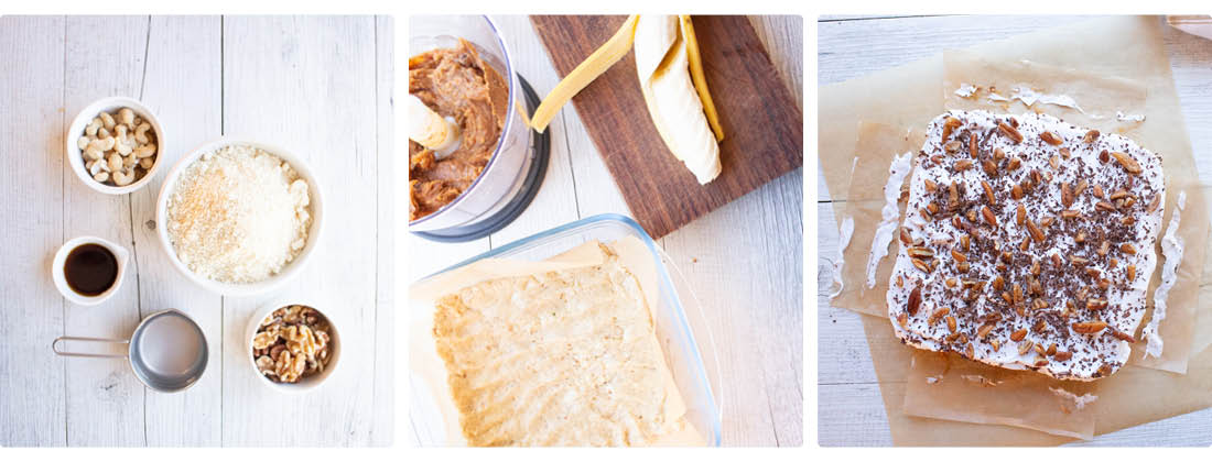 Three images showing different steps in making Raw Vegan Banoffee Slice